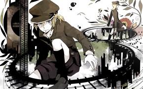 Картинка аниме, клавиши, арт, Vocaloid, Вокалоид, персонажи