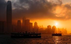 Картинка city, China, sky, sea, ocean, sunset, clouds, sun, Hong Kong, boats, buildings, skyscrapers, bay, cityscape, …