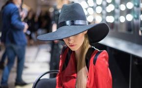 Картинка лицо, стиль, волосы, шляпа