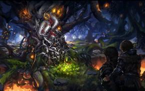 Картинка fantasy, forest, trees, Game of Thrones, digital art, artwork, fantasy art, king, moss, Bran Stark, …