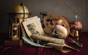 Обои перо, скрипка, часы, череп, свеча, трубка, палитра, натюрморт, глобус, рукопись