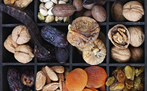 Картинка орехи, миндаль, изюм, грецкий орех, фисташки, инжир, курага, сухофрукты, финики