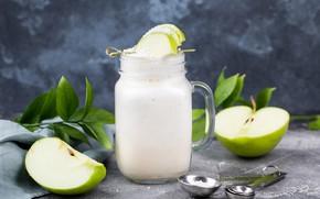 Картинка яблоко, сахарная пудра, молочный коктейль