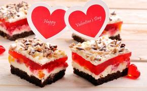 Картинка романтика, сердце, пирожное, орехи, cake, выпечка, сладкое, вкусно, Valentine's Day, sweets, бисквит