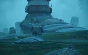 Картинка дорога, башня, автомобиль, warmachines
