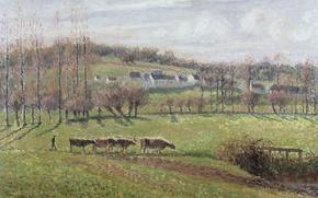 Картинка дома, картина, коровы, Камиль Писсарро, Летний Пейзаж. Эраньи