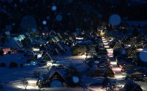 Обои зима, снег, ночь, Япония, городок, Сиракава