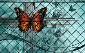 Картинка линии, бабочки, рендеринг, фон, фантазия, коллаж, плетенка, картинка