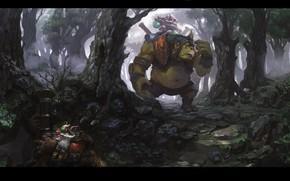 Картинка Погоня, Арт, Dota 2, Дота 2, Artwork, Sniper, Alchemist, Темный Лес