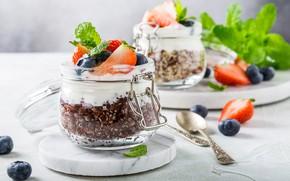 Обои ложки, баночки, черника, йогурт, ягоды, завтрак, клубника, мята