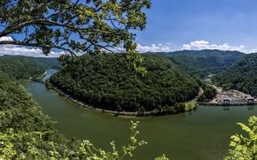 Картинка лес, река, панорама, мосты, New River Gorge, West Virginia, Западная Виргиния, Нью-Ривер
