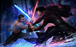 Обои lightsaber, Patrick Brown, PatrickBrown, Finn, The Force Awakens, Star Wars: The Force Awakens, Kylo Ren, ...