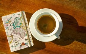 Картинка путешествия, кофе, чашка, блокнот