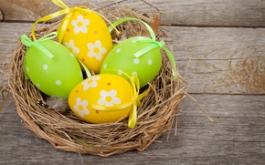 Картинка Пасха, корзинка, spring, Easter, eggs