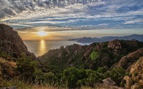 Картинка закат, горы, побережье, Франция, France, Корсика, Corsica, Piana