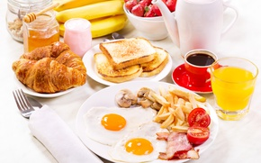 Картинка Стакан, Кофе, Тарелка, Бананы, Чашка, Еда, Завтрак, Сок, Яичница, Хлеб, Круассан