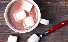 Картинка кофе, горячий, ложка, чашка, напиток, зефир, маршмеллоу, marshmallow