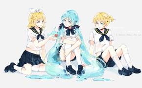 Картинка нежность, жидкость, аниме, арт, друзья, Vocaloid, Вокалоид, персонажи