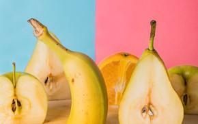 Картинка яблоко, апельсин, фрукты, груша, банан, цитрус