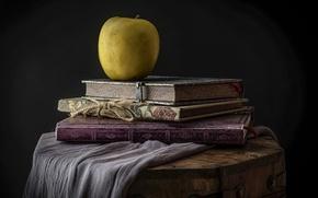 Картинка стиль, книги, яблоко, сундук, натюрморт