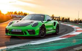Картинка закат, 911, Porsche, гоночный трек, 2018, GT3 RS, Weissach Package