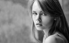 Картинка взгляд, девушка, лицо, милая, модель, губы, черно-белое, красивая, Анастасия Щеглова