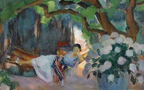 Картинка картина, жанровая, Henri Lebasque, Анри Лебаск, Молодая Женщина в гамаке
