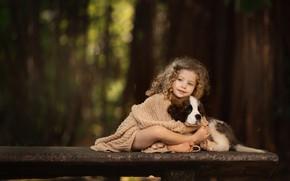 Картинка дружба, девочка, щенок, кудряшки