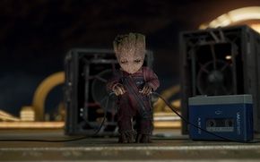 Обои baby Groot, music, walkman, Guardians of the Galaxy Vol 2, alien, Groot, Vin Diesel, Sony, ...