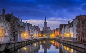 Обои Брюгге, Бельгия, Jan van Eyckplein, дома, ночь, канал