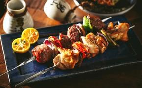 Обои lemon, мясо, шашлыки, овощи, лимон, kebabs, meat