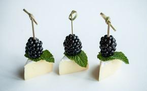 Картинка сыр, мята, ежевика, закуска, канапе