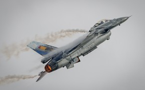 Картинка небо, самолёт, боевой, серое небо, F-16A