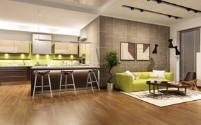 Обои дизайн, кухня, kitchen, living room, гостиная, sofa, design, модерн, interior, мебель, интерьер, диван
