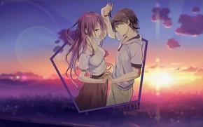Картинка закат, танец, аниме, пара, парень и девушка, madskillz