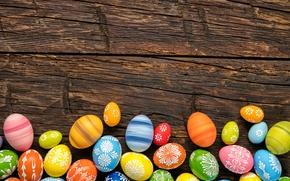 Картинка colorful, Пасха, happy, wood, spring, Easter, eggs, holiday, яйца крашеные