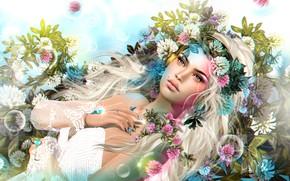 Обои волосы, клевер, девушка, цветы