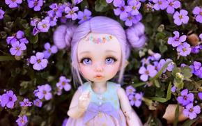 Обои кукла, игрушка, цветы