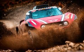 Картинка Красный, Mini, Спорт, Гонка, Грязь, Брызги, Rally, Dakar, Дакар, Внедорожник, Ралли, Передок, X-Raid Team, 305, …