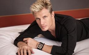 Обои взгляд, поза, часы, руки, актер, мужчина, браслет, блондин, Dolph Lundgren, Дольф Лунгрен