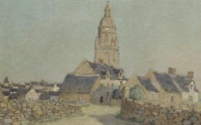 Картинка улица, забор, дома, картина, городской пейзаж, Ferdinand du Puigaudeau, Фердинанд дю Пюигадо, Колокольня в Круазике