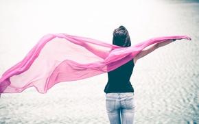 Картинка море, девушка, настроение, шарф
