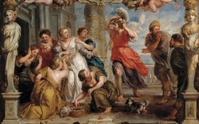 Картинка картина, Питер Пауль Рубенс, мифология, Pieter Paul Rubens, Обнаружение Одиссеем Ахиллеса Среди Дочерей Ликоме