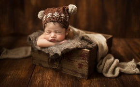 Картинка доски, сон, шарф, помпоны, пол, ящик, ребёнок, шапочка, младенец