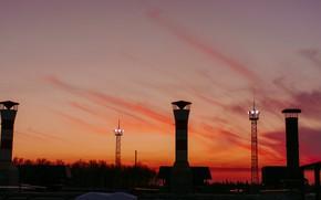 Картинка солнце, облака, закат, работа, термоядерное
