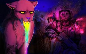 Картинка глаза, цвета, космос, оружие, коты, красота, радуга, скафандр, носик, ротик, яркость, четкость, воители, выразительные