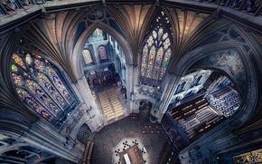 Обои религия, неф, витражи, Англия, архитектура, Или, собор