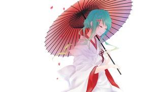Картинка зонт, лепестки, белый фон, кимоно, vocaloid, Hatsune Miku, вокалоид, голубые волосы, заколка, закрытые глаза