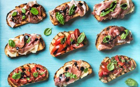 Картинка еда, сыр, овощи, соус, bread, бутерброды, базилик, помидоры-черри