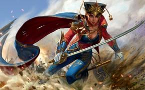 Обои девушка, оружие, бой, арт, форма, сабля
